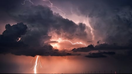 Lightning - lightning, wallpaper, thunder, nature, clouds, sky, storm