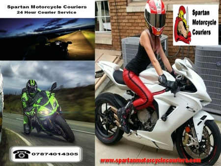 Spartan Motorcycle Couriers - transportation, biker chick, motorbike, courier, motorcycle, biker babe