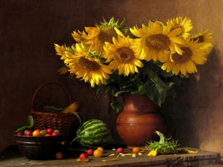 Still Life - Watermelon, Berries, Flowrrs, Sunflowers