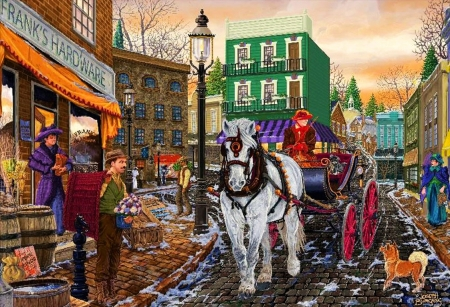 Frank's Hardware - town, people, horse, cart, artwork, painting, street