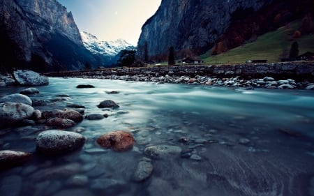 Cold river - stream, image, grass, clouds, fog, nice, stones, scenario, mounts, widescreen, sky, panorama, water, cool, mountains, surface, awesome, white, landscape, scenic, gray, beautiful, valley, picture, green, river, mirror, scenery, blue, amazing, reflex, blue dreams, view, foam, colors, plants, lines, reflections, scene