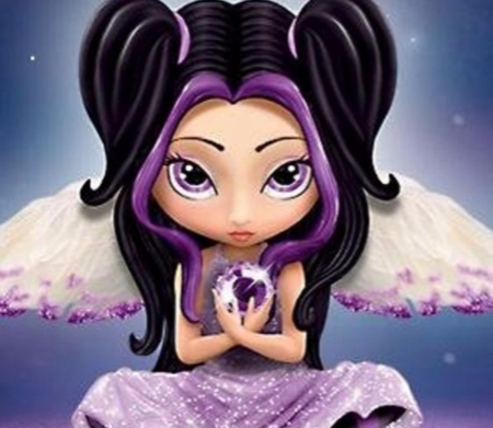 Purple And Black Fairy - Eyes, Fantasy, Black, Purple, Abstract