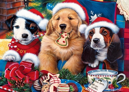 Christmas Puppies.Christmas Puppies Dogs Animals Background Wallpapers On