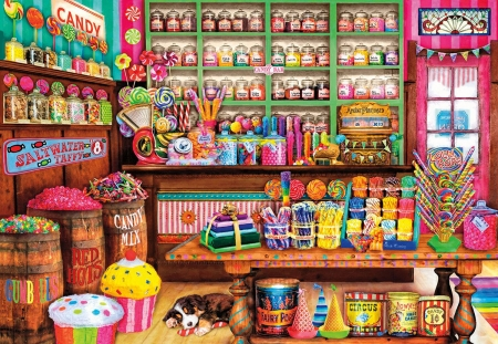Sweet place - sleep, art, pink, sweet, colorful, candy, puppy, place, pictura, shopp, luminos, cupcake, painting