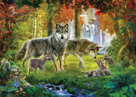 Wolves - orange, wolf, green, lup, luminos, pictura, autumn, painting