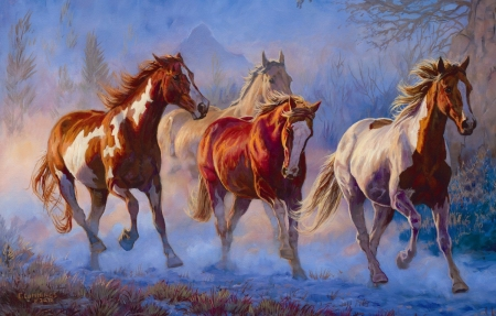 Twilight horses - art, blue, animal, pictura, chris cummings, orange, luminos, horse, cal, painting