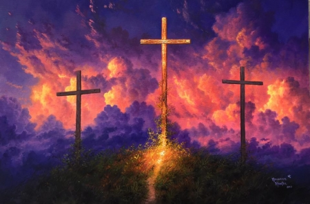 Old Rugged Cross - crosses, colors, hill, path, sky, clouds, artwork, painting