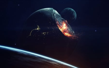 Not a Perfect Sphere - moons, planets, stars, 3d, galaxy, digital art, Vadim Sadovski