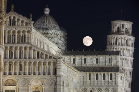 Thunder Moon over Pisa - architecture, moon, cool, monuments, space, fun