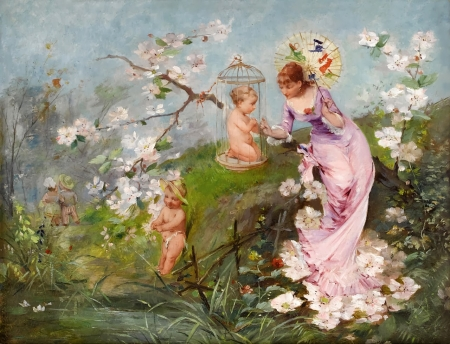 Allegory of spring - art, luminos, girl, cupid, emile auguste pinchart, painting, allegory of spring, pictura