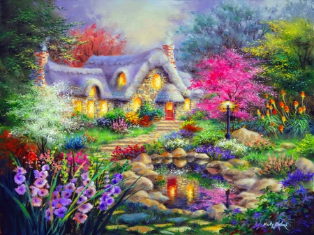Cottage point - pretty, colorful, house, cottage, home, beautiful, countryside, painting, village, flowers, art, lovely, pond, point, paradise, peaceful, summer