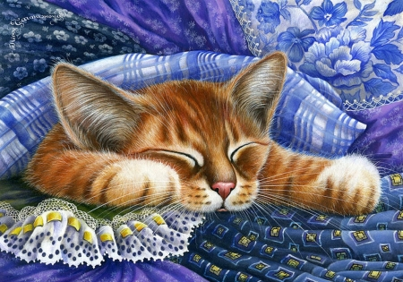 Dreaming Kitty - painting, cat, bed, cushion, sartwork