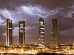 Lightning over Madrid Skyscrapers