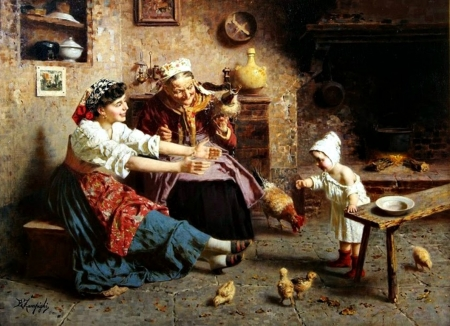 First steps - art, woman, old, mother, grandmother, girl, people, painting, eugenio zampighi, copil, child, pictura