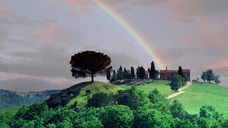 Rainbow Over a Tuscan Farm - tuscan, rainbow, trees, farm, nature