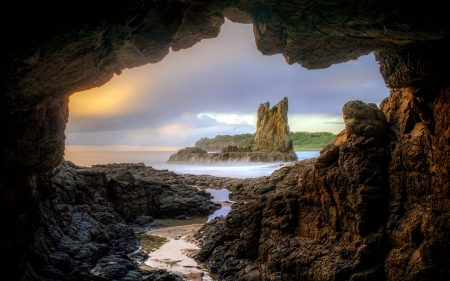Cathedral Rocks, New South Wales - australia, rocks, sunset, ocean