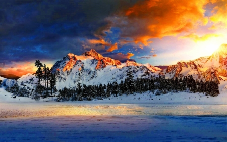 Snowy Mountains at Sunrise - Mountains & Nature Background ...