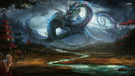 Dragon In Ancient Chinese Village Fantasy Abstract Background