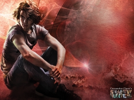 Shadowhunter - red, cassandra clare, luminos, cover, book, man, the mortal instruments, fantasy, shadowhunters