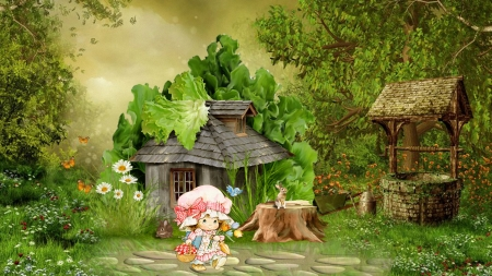 Walk in Fantasy Land - fairy tale, cottage, little cutie, fantasy, green, little girl, rabbits, flowers, story, child, wishing well, bunnies, Firefox Persona theme