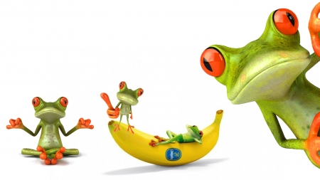 FROGS - cute, frogs, fantasy, red eye frogs, banana, Firefox Persona theme