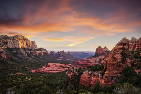 Sedona Canyons - landscape, desert, sky, sunset, clouds, mountains