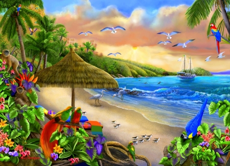 Paradise Beach - islands, flying birds, love four seasons, birds, attractions in dreams, sea, paintings, macaws, paradise, beaches, summer, flowers, nature, sailboat