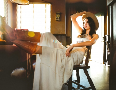 Hot Day. . - table, female, models, hats, cowgirl, boots, ranch, fun, Niki, women, brunettes, girls, room, fashion, western, style
