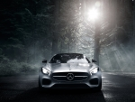Mercedes Benz under the moon light