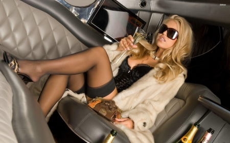 blonde in limousine - limousine, gir, blonde, car