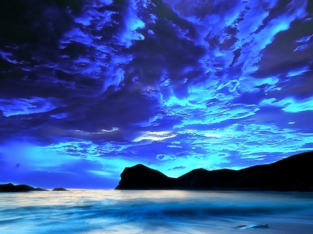 Dark Blue Sky Over The Shore - twilight, sky, blue, sea, nature, shore