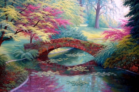 Red Stone Bridge - bridges, love four seasons, attractions in dreams, trees, pond, paintings, summer, flowers, garden, nature