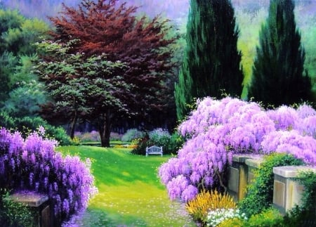 Chinese Wisteria - bridges, love four seasons, spring, attractions in dreams, trees, paintings, flowers, garden, nature