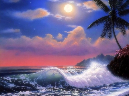 Tropical Moonlight - moons, love four seasons, attractions in dreams, waves, sky, clouds, palm trees, sea, paintings, paradise, beaches, summer, seaside, moonlight, nature