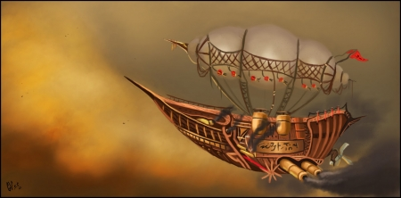 Steampunk Ship - art, sailing, fantasy, balloon