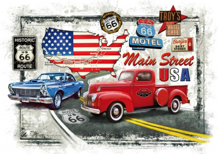 Route 66 - cars, memories, road, flag