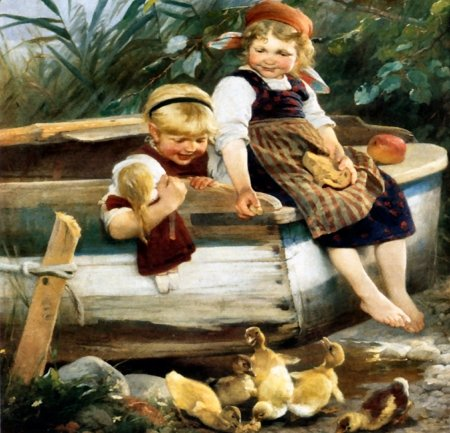 Feeding the Ducklings - art, beautiful, little girls, illustration, artwork, animal, bird, avian, painting, wide screen, wildlife, nature, ducklings