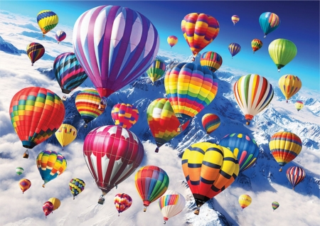 Above the skesi - skies, colorful, aircraft, balloons
