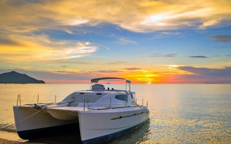 Catamaran at Sunset - catamaran, seascape, sea, sunset