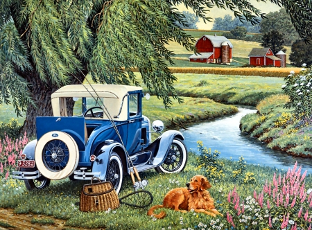 Gone Fishing - Dog F - art, beautiful, pets, illustration, artwork, canine, animal, farm, automobile, car, painting, auto, wide screen, dogs