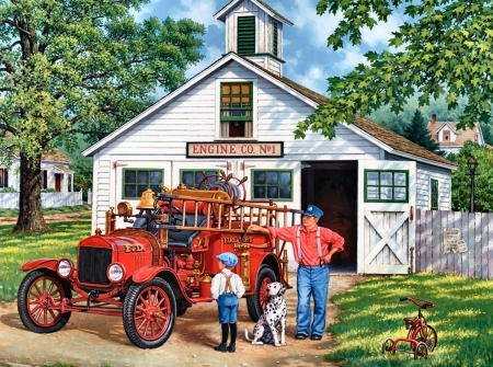 Fire Engine Inspector FC - art, inspector, beautiful, illustration, artwork, canine, cars, fire engine, automobile, painting, auto, wide screen, dogs