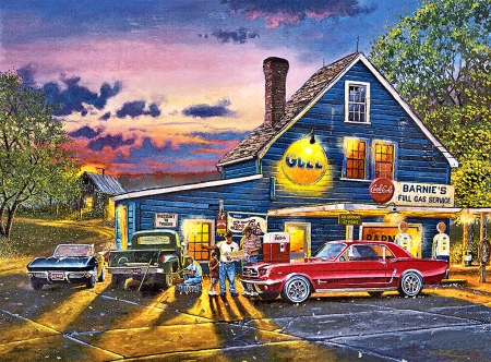 Taking the Back Roads FC - art, beautiful, illustration, artwork, cars, automobile, painting, auto, wide screen, station