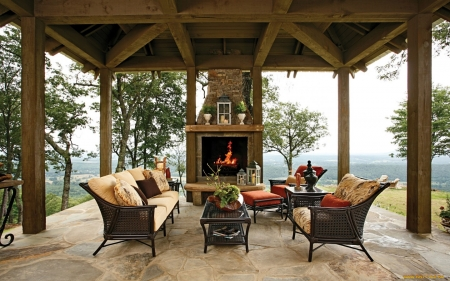 Terrace with Fireplace - furniture, fireplace, cozy, terrace