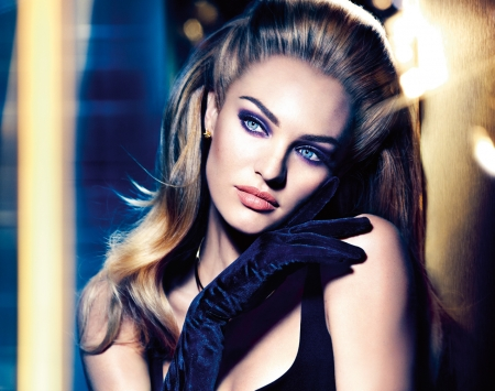 Candice Swanepoel - glove, girl, model, blonde, face, woman, Candice Swanepoel