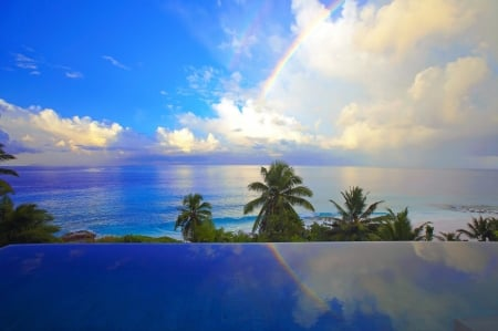 Rainbow over Tropical Ocean - Beaches, Nature, Rainbows, Oceans, Clouds, Tropical, Sea, Sky, Palms