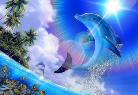 Shining Pleasure - oceans, love four seasons, attractions in dreams, sky, clouds, dolphin, paintings, paradise, summer, nature, sunshine, animals, blue