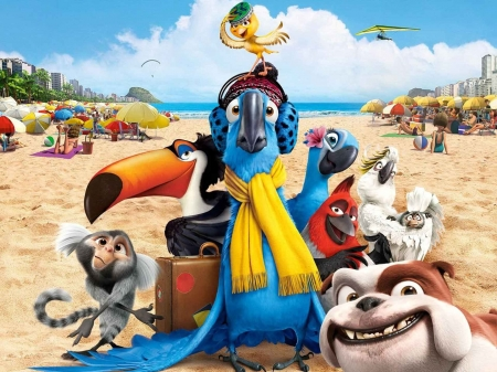 Rio 2 (2014) - poster, movie, pasare, parrot, macaw, rio 2, hat, beach, bird, scarf, funny