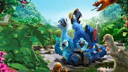 Rio 2 (2014) - poster, family, movie, pasare, parrot, macaw, rio 2, bird, jungle, blue