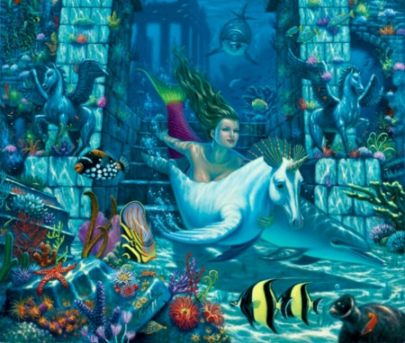 Mermaid and unicorn fish - underwater, luminos, fish, will cormier, unicorn, mermaid, sirena, sea, painting, summer, pictura, blue