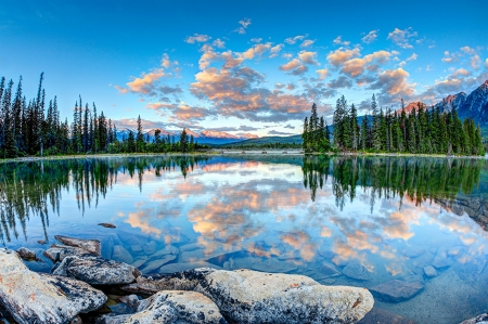 Beautiful scenery - image, clouds, nice, stones, scenario, sky, trees, pines, cool, surface, awesome, white, landscape, scenic, gray, panoramic view, beautiful, picture, photography, green, mirror, scenery, pink, blue, photo, amazing, reflex, lakescape, view, riverscape, nature, reflections, natural, scene